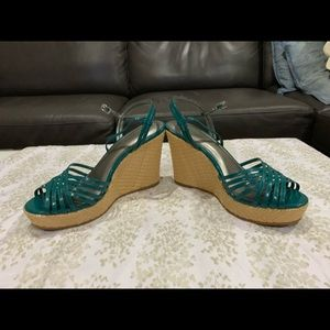Ann Taylor Teal Leather Wedges
